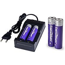 Canwelum - Cargador y baterías litio recargable 18650 Protegida, Cargador + pila recargable 3.7V 18650 Potente - Aplicable para linternas o faros LED alta potencia, no para Cigarrillos electrónicos (Un Juego de 4 x Baterías y 1 x cargador)