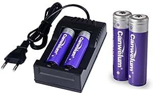 Canwelum - Batterie Litio e Caricabatteria 18650, Batteria Ricaricabile Li-ion 18650 Potente con Capacità di Alimentazione Grande, Pile 18650 3,7 V Protetto e Corrente Elettrica Massima 5A - Applicabile per Torcia o Lampada Frontale, Non per Sigarette Elettroniche (Un Set di 2 x Batterie e 1 x Caricabatteria Euro - CE Certificato)