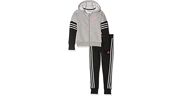 Adidas Survêtement à Capuche pour Fille 110 Medium Grey Heather Black Shock  Pink  Amazon.fr  Sports et Loisirs c2fa313aa197