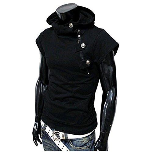 Herren Sommer Kurzarm T-shirt mit Kapuze Streetwear Schwarz
