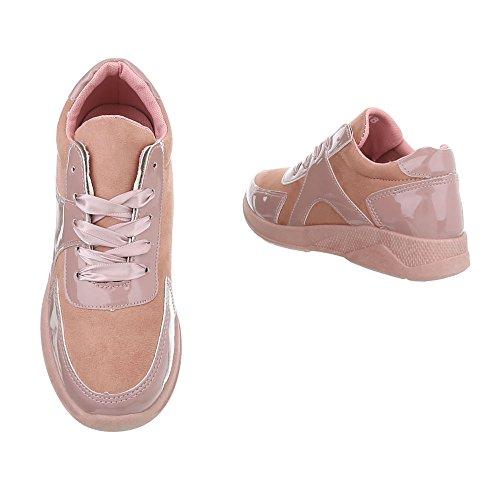 Ital-design Chaussures Femme Baskets Plat Sneaker Bas Rose