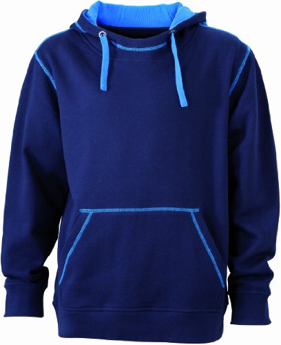 James & Nicholson Herren Sweatshirt Kapuzensweatshirt Men's Lifestyle Hoody Navy/Cobalt