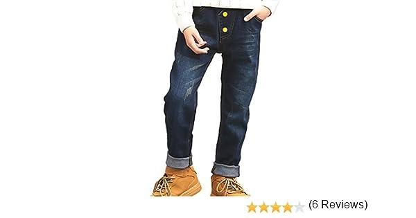 Yiiquan Jeans Gar/çon Taille /Élastique Slim Droit en Denim Jean Pantalon Boutons Loisirs Style