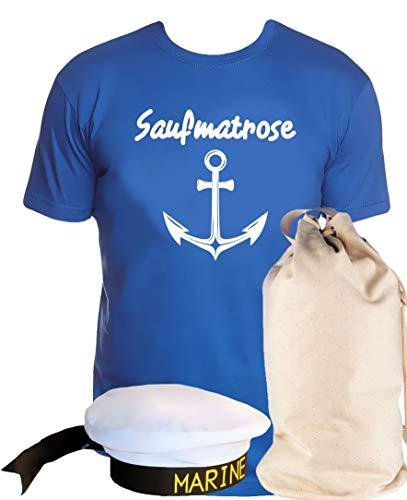 Kostüm Last Minute Party Eine Für - Coole-Fun-T-Shirts Matrosen Kostüm Set Saufmatrose T-Shirt + Matrosenmütze + Sack blau Gr.XL