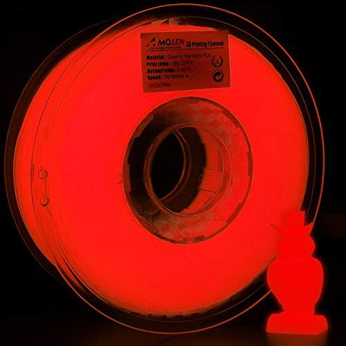 AMOLEN PLA Filamento Impresora 3D, 1.75mm Glow in the Dark Rojo 1KG,+/- 0.03mm impresión 3D de filamento, incluye Muestra Cambio de Tres Colores con Temperatura, Negro a Marrón a Amarillo Filamento.