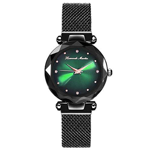 Damen Uhren, L'ananas Frauen Glossy Dial Romantisch Diamantschneiden Freie Größe Netzgurte Armband Armbanduhr Women Watches Bracelet Wristwatch (Schwarz+Grün)