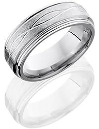 Cobalt Chrome, Refined Engraved Complex Bevel Wedding Band (sz H to Z1)