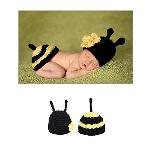 Neugeborenes Baby Fotografie Requisiten Kostüm, Handgewebte Woolen Foto Anzug Für Baby Innerhalb Von 100 Tagen, Biene-Wie (Gelb Und Schwarz) (Neugeborene Biene Kostüm)