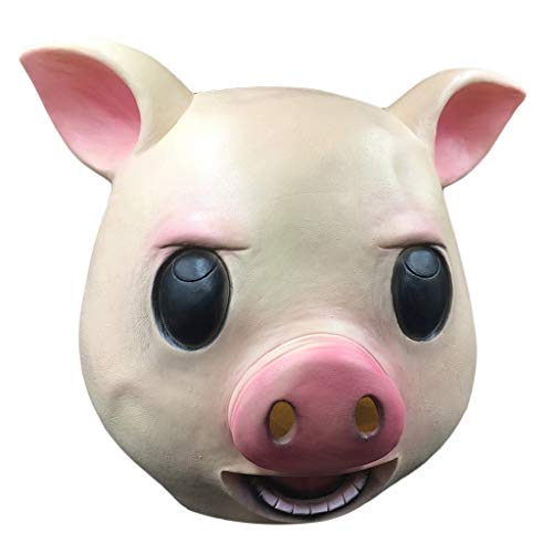 TIREOW Komische Maske Maskerade Schwein Kopf Maske Tier Cosplay Kostüm Latex Party Geburtstag Party Halloween Masken für GILR Boy Männer Frauen