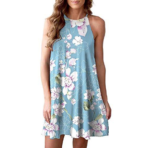 kolila Halfter Wickelkleid Damen Sommer Lose Sleeveless Sling Lässige Mini A-line Kleid Floral Bedruckte Boho Kleider(Himmelblau,S)