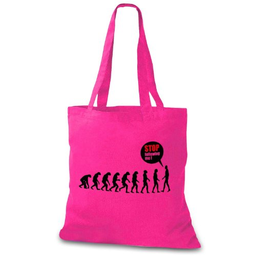 StyloBag Jutebeutel Stop following me - Funny Evolution Stofftasche Pink