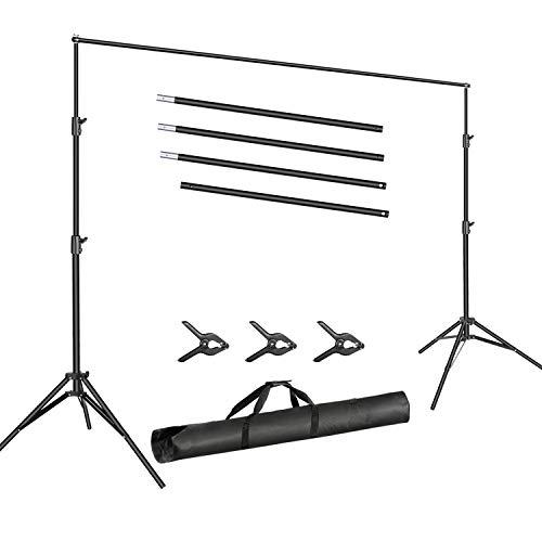 Neewer Foto Video Studio 3m breiter Querbalken 2m hoch verstellbarer Hintergrundständer- System mit 3 Hintergrundklammern und Tragetasche für die Produkt Porträtfotografie