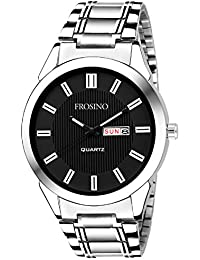Frosino Mens Watch, Unique Quartz Analog Dress Business Casual Watches Stainless Steel Band Wrist Roman Numeral Waterproof Watch, Classic Calendar Date Window - Black - FRAC101825