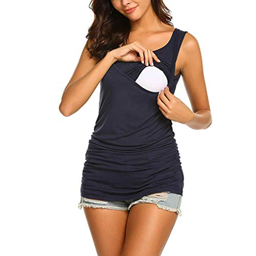 ▷SuperSU Umstands◁ Damen Umstandstop Locker Bequeme Einfarbig Doppelschicht Unsichtbar Stillshirt,Frau Still Umstandsmode Maternity Tops Stilltop Ärmellosshirt Schwanger T-Shirt -