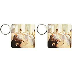 3dRose image of violin and ballerinas - Key Chains, 2.25 x 4.5 inches, set of 2 (kc_174274_1)