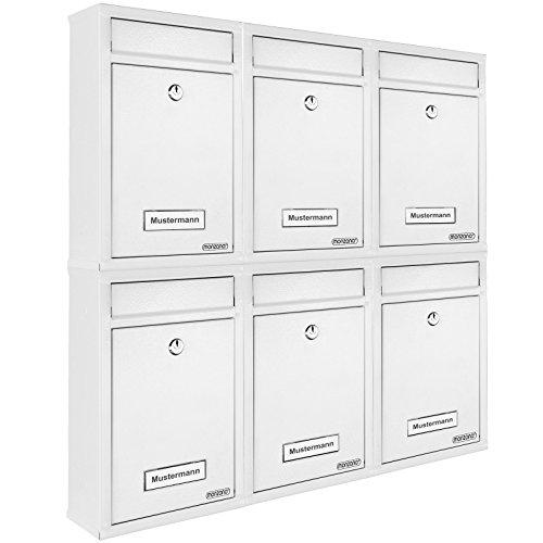 6x Briefkasten Set Wandbriefkasten Briefkastenanlage Postkasten Stahl Mailbox weiß