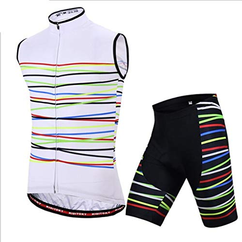 Anne Klein-jersey (AF Herren Ärmelloses Jersey Uniform Atmungsaktiv Ärmellose Shorts Set Radfahren Sport Fahrradausrüstung 2 Farben (Color : B, Size : L))