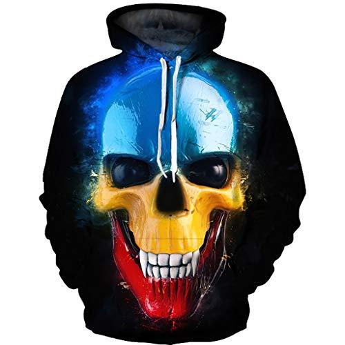 Unisex Kapuzenpullover Skull 3D Bedruckte Tunnelzug Pullover Swearshirt Mit Taschen für Pullover Pärchen Couple-Hoody -