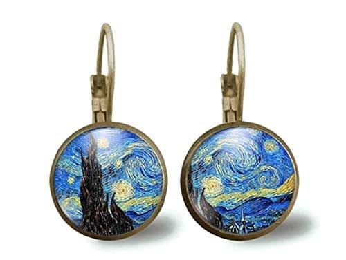 """orecchini in bronzo, cabochon di vetro, set, Van Gogh""""La notte stellata"""", pittore, pittura, opera, pittura, blu, nero (ref.15)"""