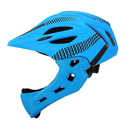 AmzGxp Kinder Helm Rollschuhlaufen Balance Auto Sicherheit Fahrrad Fahrradhelm Helm Stepping Kinder Vollhelm Mit LED (Color : Blue)