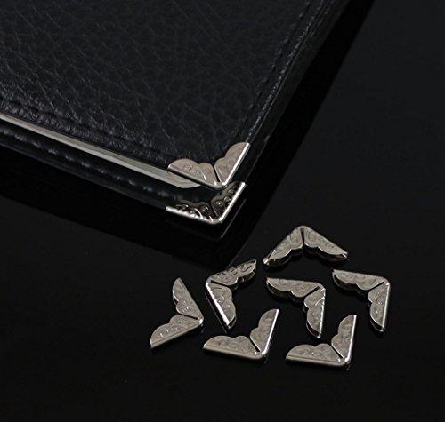 yontree-lot-50-livre-albums-cartonnage-protecteur-coin-metal-14mm-x-14mm-x-4mm-argente