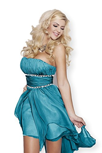 AmazingGirl 17 Sexy Abendkleid Vokuhila Korettkleid Festkleid Ballkleid  Abschlusskleid Asymmetrisch Schleppe Hohzeit Petrolblau