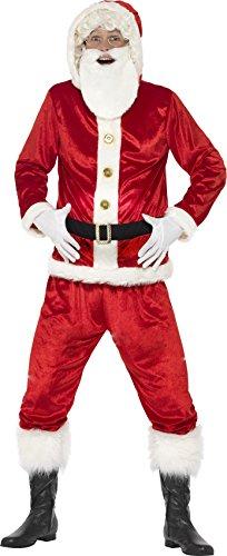 Smiffy's 46751L - Herren Lustiges Santa Claus Kostüm, Jacke mit Kapuze, Gepolsterter Bauch, Ho Ho Ho Sound Chip, Hose und Bart, Größe: L, (Claus Santa Bart)