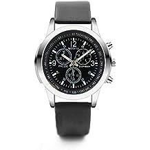 JiaMeng Pulsera del Reloj para Hombre Three Eye Watches Quartz Reloj para Hombre Belt de Moda