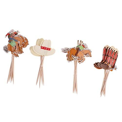 pcake Toppers Kuchendeko Tortendekoration Muffin Aufsatz Dekoration für Kuchen geeignet für Geburtstagsparty, Hochzeit und Babyparty - Cowboy, 24 Stück ()