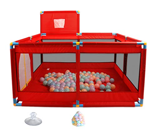 Red Baby Play Yard, Baby Playpens Mesh Sicherheitszaun, Toy Play Zelt Playard, Ball Pit Mit Reißverschluss Tür Für Kleinkind Jungen Mädchen (Farbe : Playpen+bal) -