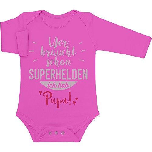 t Schon Superhelden ich hab Papa Baby Langarm Body 62/68 (3-6M) Wow rosa ()