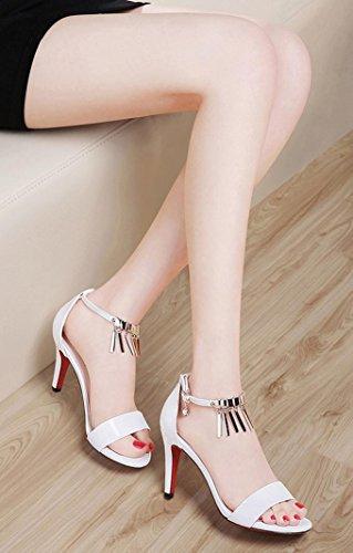 HYLM I sandali delle donne di La nuova bocca aperta a bocca aperta degli alti talloni Vestito da cerimonia nuziale i vestiti da banchetto / scarpe da tribunale 1446 white