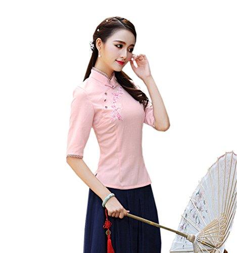 YueLian Damen Frauen Herbst QiPao Stil Bluse mit Half Sleeve Stehkragen in Zwei Farben Rosa