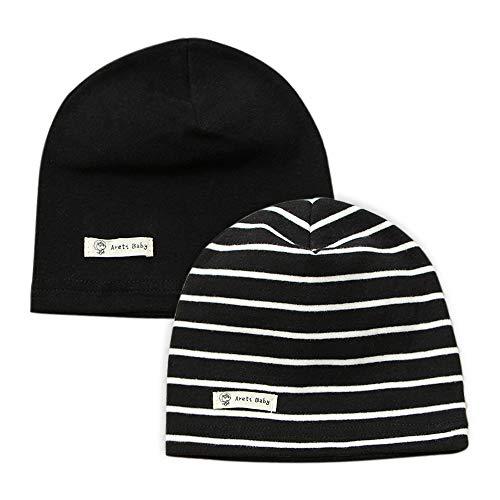 LACOFIA Lot de 2 Bonnet de Naissance en Coton pour Bébé garçon Chapeaux tricotés Enfant garçons Noir M/7-24 Mois