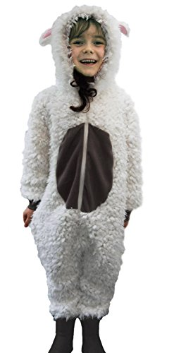 Kinder Jungen Mädchen Strampelanzug Schlafoveralls Tier Overall flauschig Fleece Jumpsuits Mops Teddybär Affe Dalmatiner Schaf Gorilla - Alter 2-13 Jahre, 8-9 Sehr flauschige Schafe