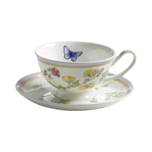 Maxwell & Williams S303102 Butterfly Garden Tasse mit Untertasse. Kaffeetasse, Becher, 180 ml, in Geschenkbox, Porzellan, lila