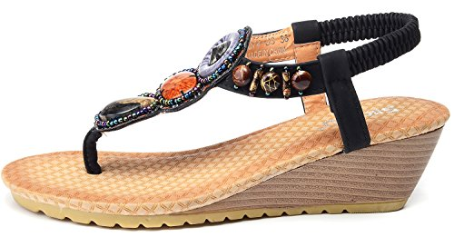 Odema sandali comodi da spiaggia bohemian con tacco a scivolo con perle da donna nero#1