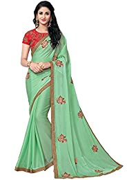 Vastrang Sarees Chiffon Saree With Blouse Piece(6003607_Green_Free Size)