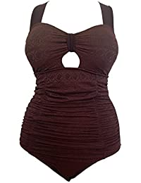 caecde1361e Torrid Ladies Womens Tummy Control Swimsuit Chocolate Brown  Jacquard Crochet One-Piece Bathing Suit Swimming…