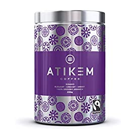 ATIKEM Organic Ground Ethiopian Coffee, Creamy Medium Roast Sidamo, Fairtrade Certified Premium Arabica – Reusable Tin…