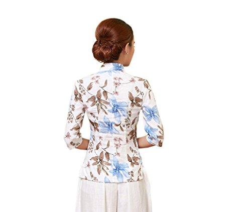 ACVIP Rétro Veste de Tang Chemise Imprimé Fleur Blouse Style Chinoise pour Femme, Plusieurs Couleurs P