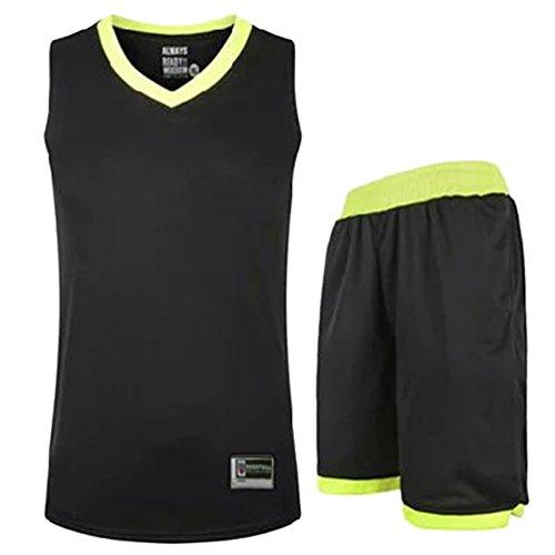 YouPuer Hommes/Femme Basketball Jerseys Col V et Shorts Basket-Ball Formation Vêtements de Sport Solide Couleur