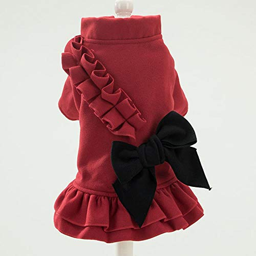 beifanged Pet Multi Color Casual Krawatte warmes Kleid, Wein rot, XS -