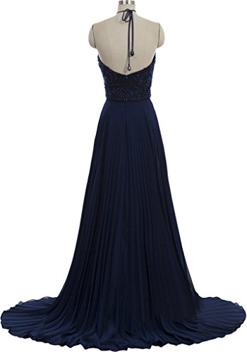 Gorgeous Bride Fashion Rueckenfrei A-Linie Lang Satin Chiffon Tuell Schleppe Abendkleider Cocktailkleid Ballkleider Inkblau