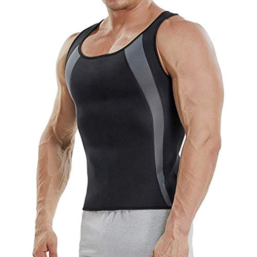 Sportliche Männer Kompression Shirt Abnehmen Tank Tops Taille Trainer Workout Shirt Neopren Sauna Weste Gewichtsverlust (Tank-tops Größe Lange Plus Extra)