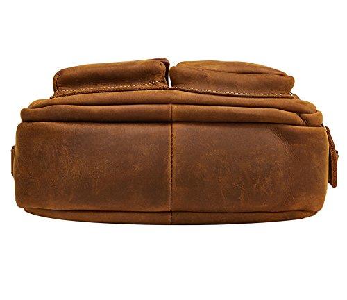 Genda 2Archer Sacchetto di Tracolla di Pelle Vera di Cavallo Pazzo di Cavalli Borsa Messaggero (25cm*7cm*18cm) (Marrone) Marrone