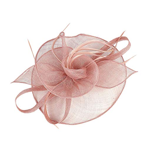 Wokee Fascinator Feather Hüte Derby Tea Party Schleier Cocktail Tea Party Hochzeit Kirche Haarschmuck für Mädchen und Frauen (Rosa)