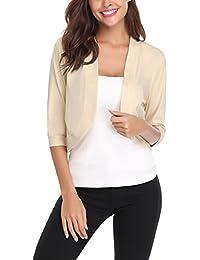 3c11f1326 iClosam Gilet Femme Court Boléro Femme Veste Cardigan Manches Longues  Tricot Classique Elégante Jersey Chic pour