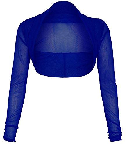 Nuovo signore ragazze ritagliata perizoma a maniche lunghe bolero Coprispalle cardigan taglia 8–22 Royal Blue