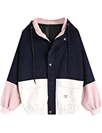New Fashion Womens Casual Long Sleeve Corduroy Patchwork Oversized Zipper Jacket Coat Windbreaker Overcoat Ladies Spring Autumn Stylish Comfy Outwear Winter Short Coat